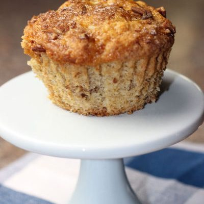 Easy Caramel Banana Muffins with Pecans!