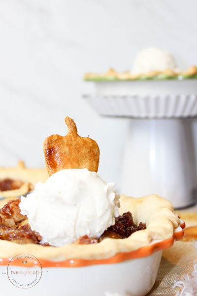 Mini Apple Pies topped with Ice Cream