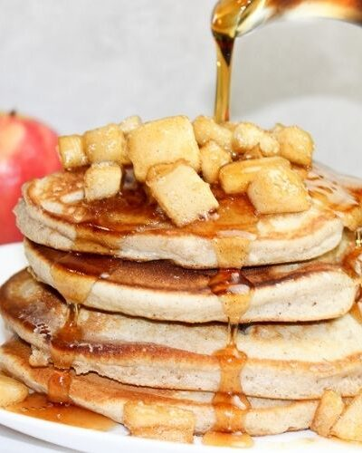 Warm Pancakes drizzled with a Apple Cinnamon Topping
