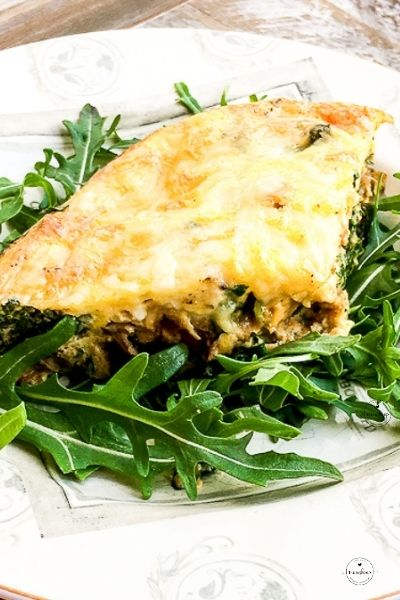 A slice of Baked Egg Frittata with a Sweet Potato Crust